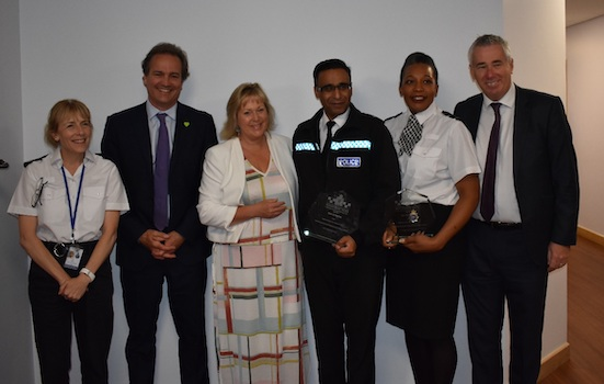 PC Ruth Honegan (second right) and Chief Inspector Mo Aziz (third right) is attached. They are pictured with from left, Assistant Chief Constable Jackie Sebire, former policing minister Nick Hurd, Bedfordshire Police and Crime Commissioner Kathryn Holloway, and former Bedfordshire Police Chief Constable Jon Boutcher Image Bedfordshire Police