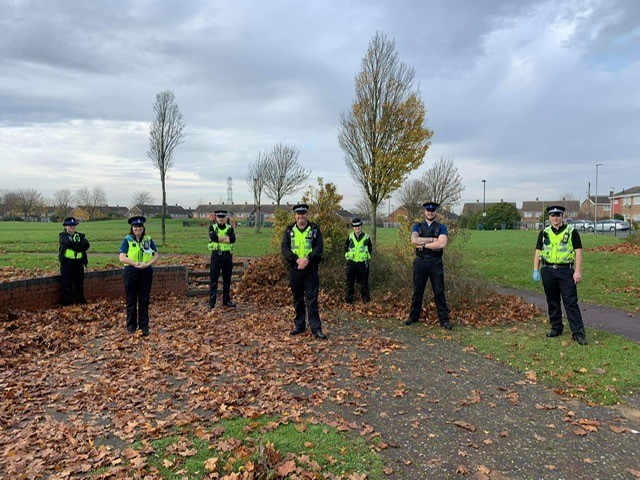 Op Sceptre officers searching Image Bedfordshire Police