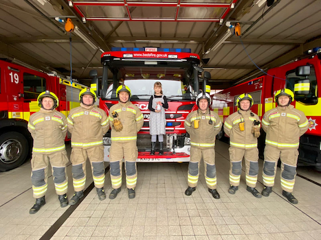 Bedfordshire Firefighters with fundraiser Teresa Byron Image Bedfordshire Fire and Rescue Service