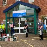 PCSOs and hospital staff with presents at the L&D hospital Image Bedfordshire Police