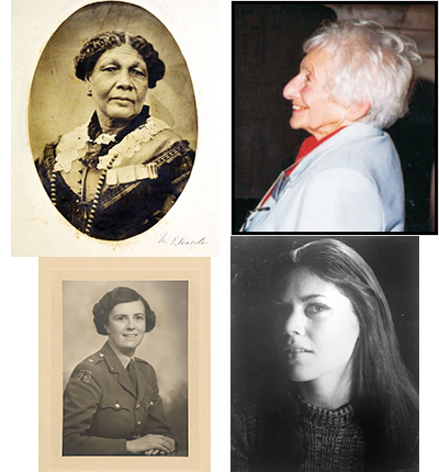 From top left - Mary Seacole, (c) the Mary Seacole Trust with Winchester College, Tilda Goldberg, Judith Blake and Eileen Alexander, all (c) the University of Bedfordshire Archive