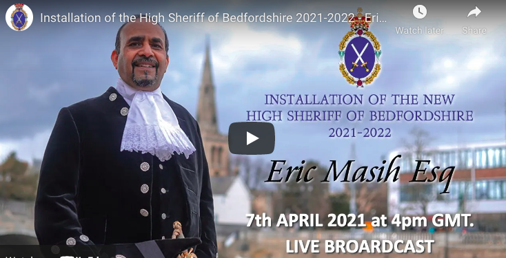 New High Sheriff of Bedfordshire sworn in at virtual ceremony YouTube Screenshot
