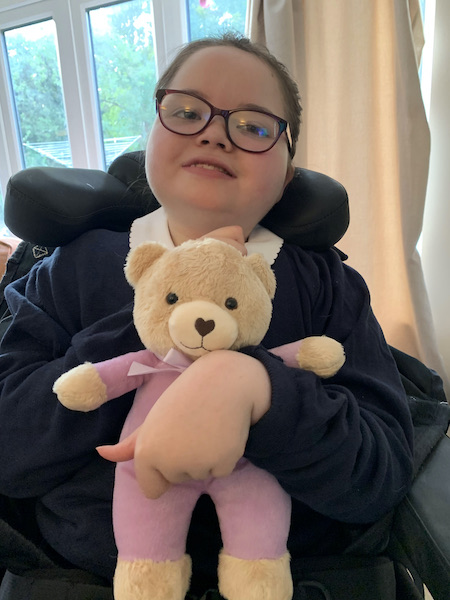 Edie with her TLC bear Image Provincial Grand Lodge of Bedfordshire